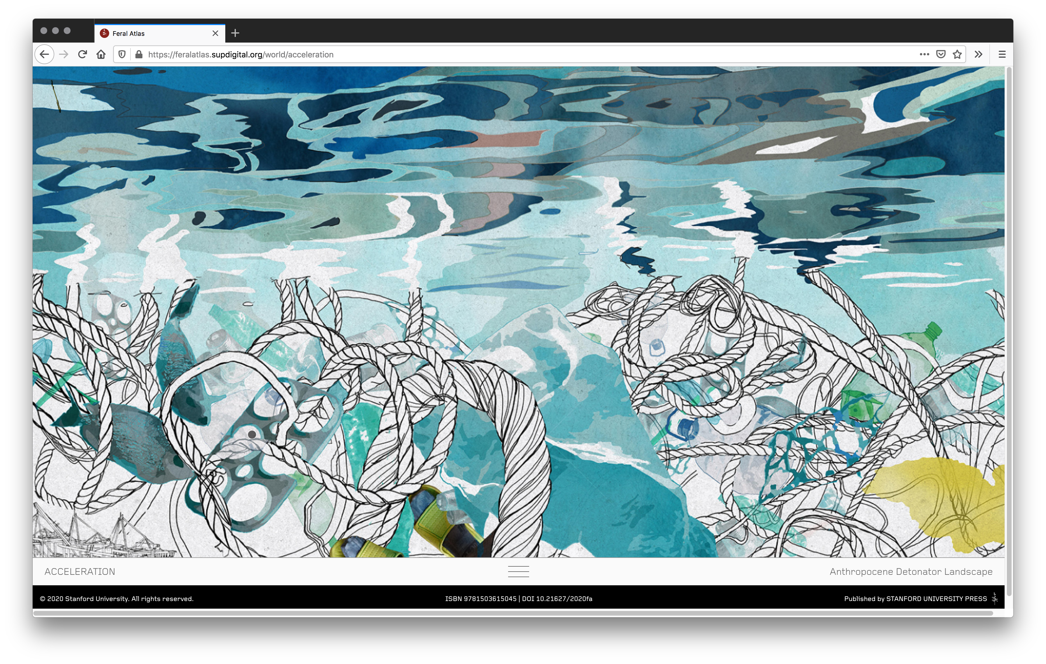 This screenshot of Feral Atlas' Anthropocene Detonator landscape shows art of marine trash. Drawings of rope and plastic are engulfed with different shades of blue paint as fish swim by.