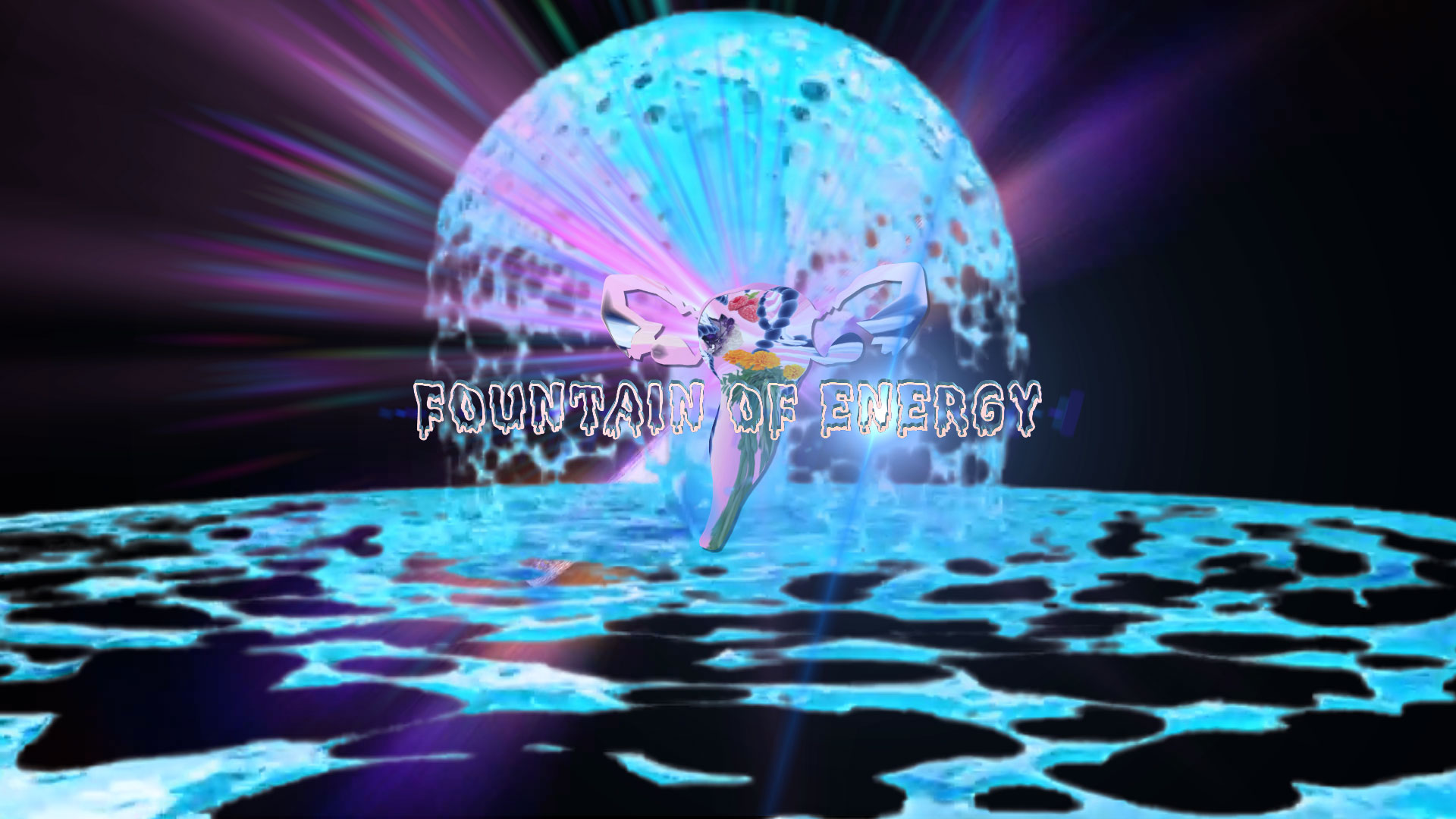 "The words ""Fountain of Energy"" are at the center of the screen in dripping font. The shape of a uterus shines in front of a planet-like dome of liquid."