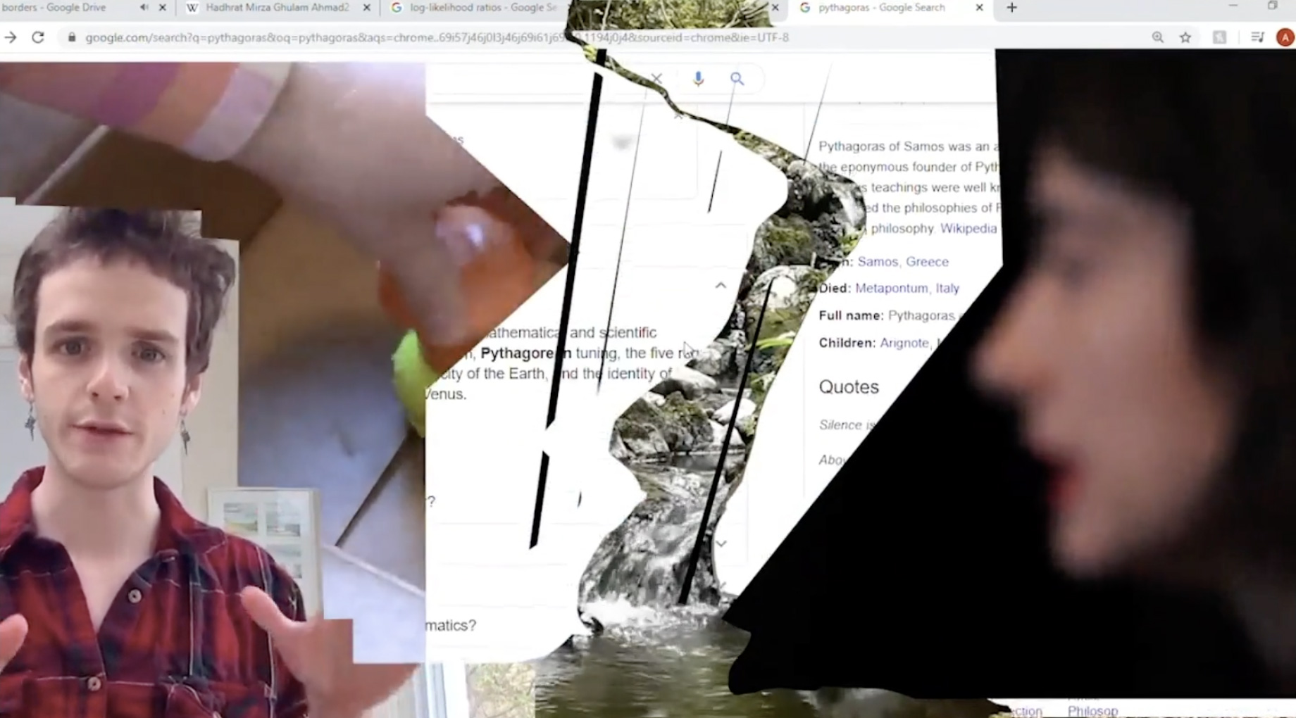 Multiple screenshots are collaged together, including a google search of the Greek philosopher Pythagoras cut to reveal a waterfall behind. A blurry photo of a person's profile is shown on the right of the image while another person is seen talking on the left corner.
